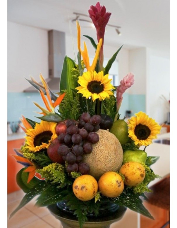 Fruits and sunflowers