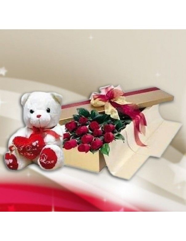 Boxed Roses and Teddy