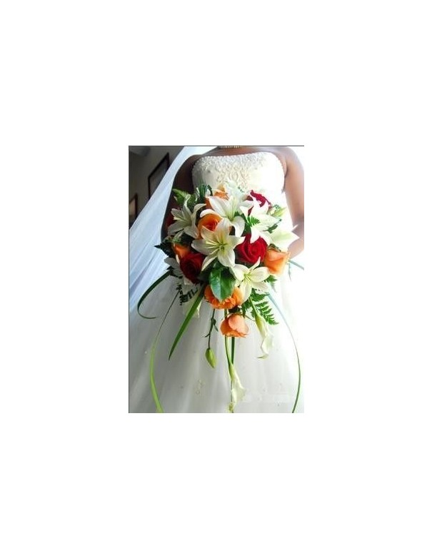 Beautiful Bridal Bouquet lilies and roses produced in