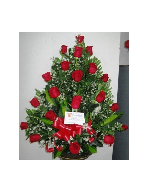 arrangement with red roses