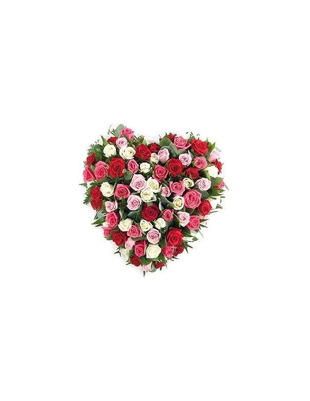 heart in assorted roses